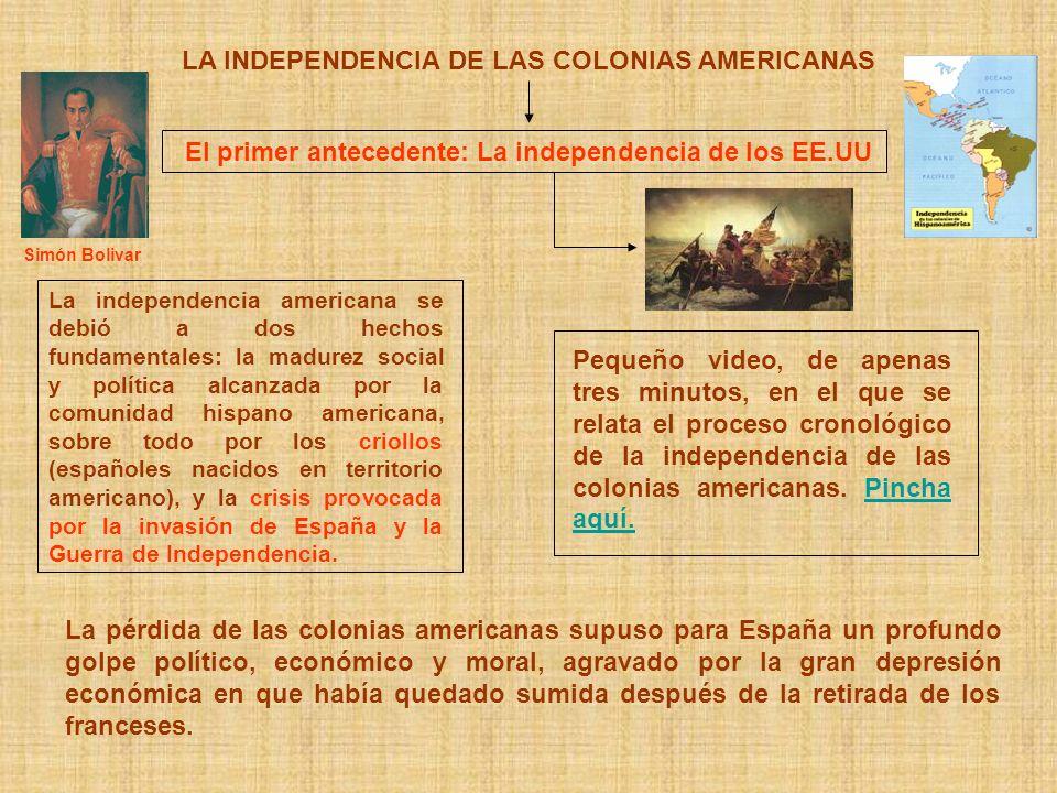 LA INDEPENDENCIA DE LAS COLONIAS AMERICANAS El primer antecedente: La independencia de los EE.UU La independencia americana se debió a dos hechos fund