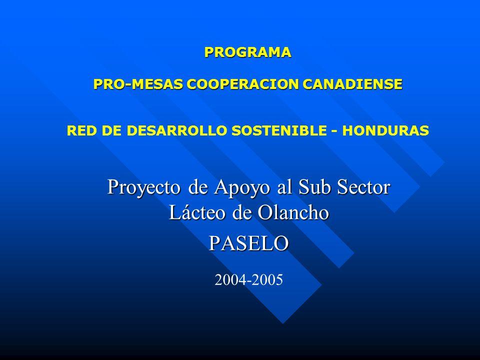 PROGRAMA PRO-MESAS COOPERACION CANADIENSE PROGRAMA PRO-MESAS COOPERACION CANADIENSE RED DE DESARROLLO SOSTENIBLE - HONDURAS Proyecto de Apoyo al Sub S