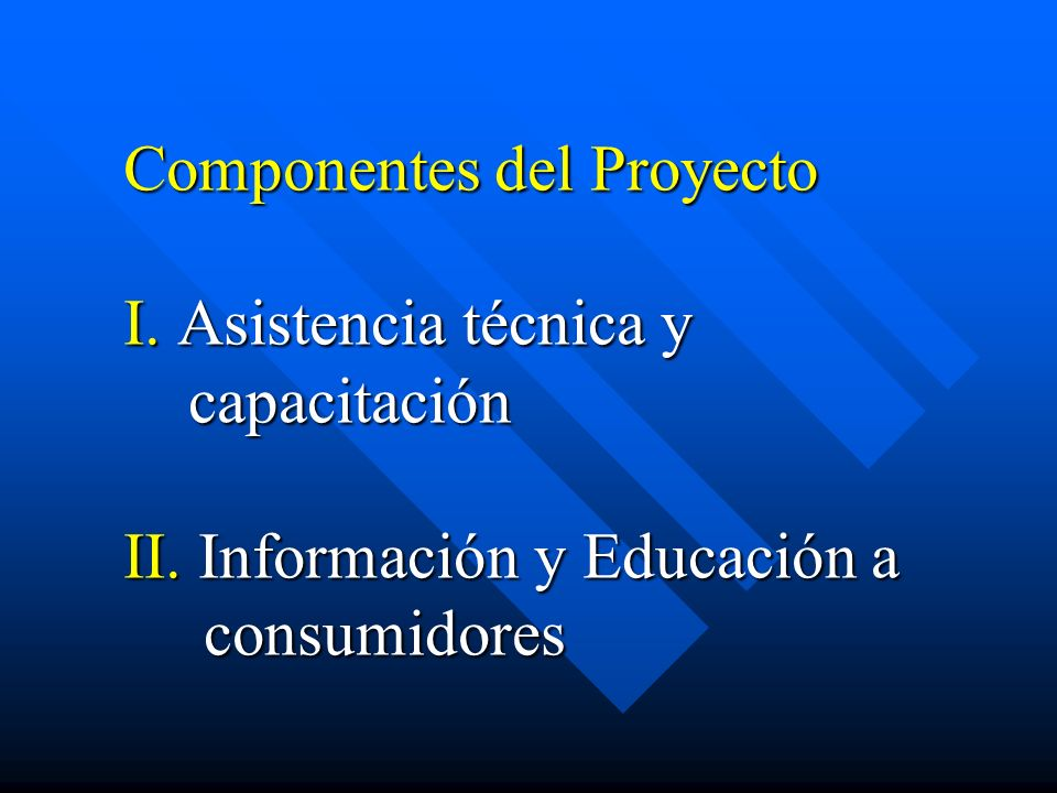 Componentes del Proyecto I. Asistencia técnica y capacitación II. Información y Educación a consumidores