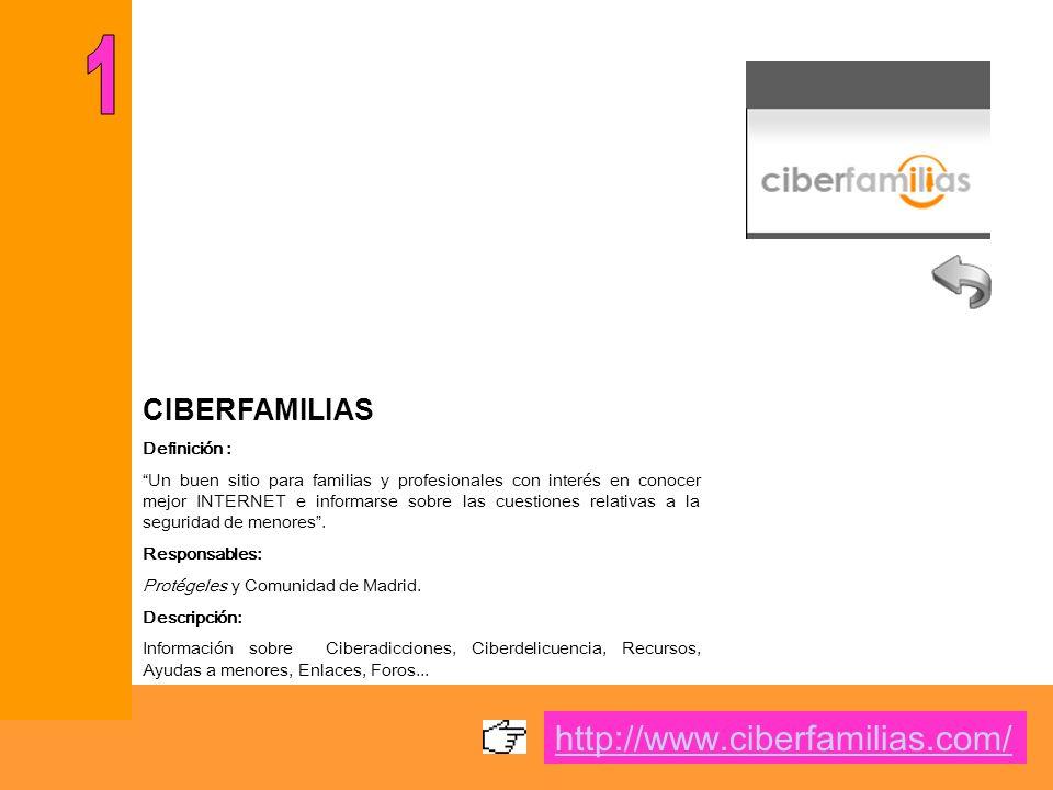 CIBERFAMILIAS Definición : Un buen sitio para familias y profesionales con interés en conocer mejor INTERNET e informarse sobre las cuestiones relativas a la seguridad de menores.