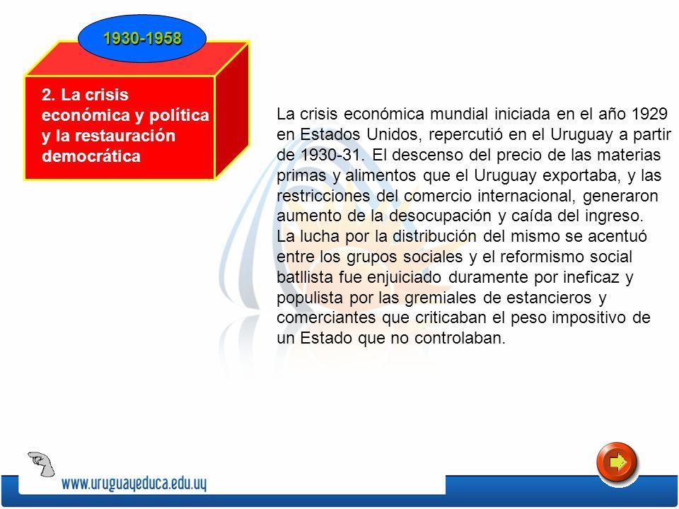 La crisis económica mundial iniciada en el año 1929 en Estados Unidos, repercutió en el Uruguay a partir de 1930-31. El descenso del precio de las mat