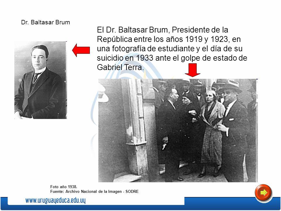 El Dr. Baltasar Brum, Presidente de la República entre los años 1919 y 1923, en una fotografía de estudiante y el día de su suicidio en 1933 ante el g