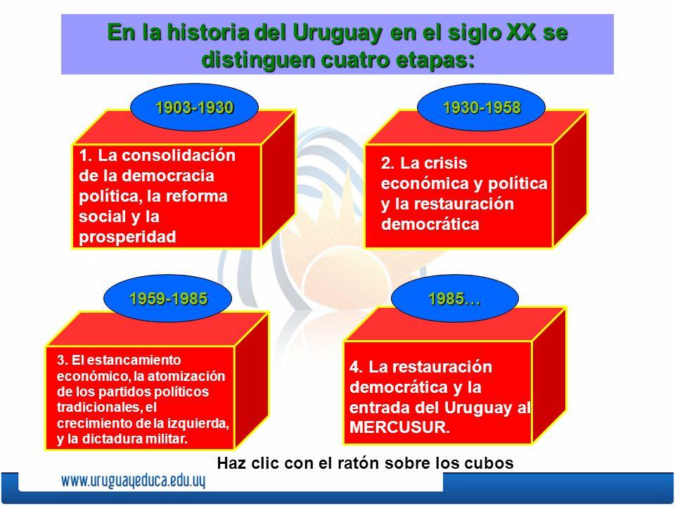 En la historia del Uruguay en el siglo XX se distinguen cuatro etapas: 1. La consolidación de la democracia política, la reforma social y la prosperid