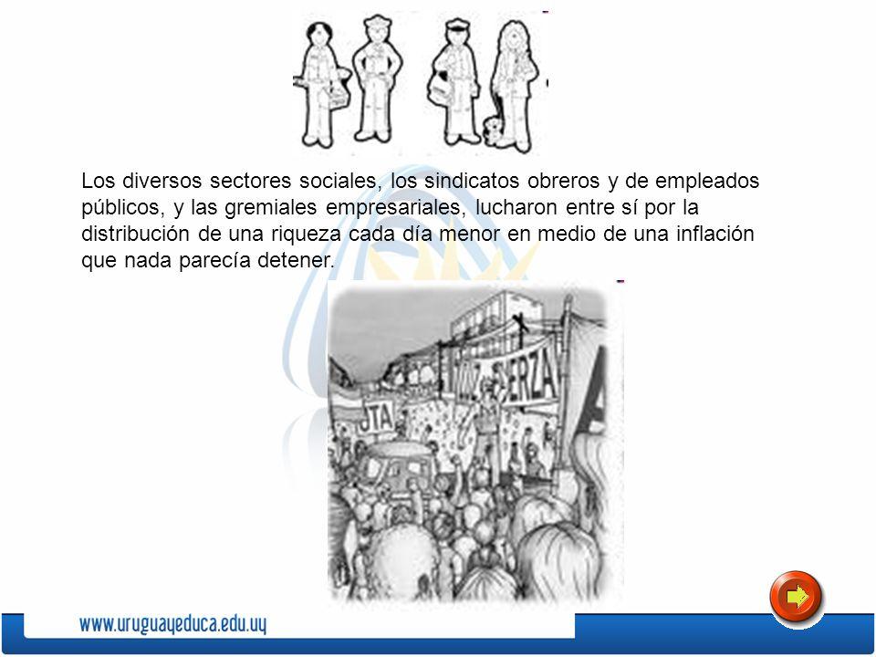 Los diversos sectores sociales, los sindicatos obreros y de empleados públicos, y las gremiales empresariales, lucharon entre sí por la distribución d