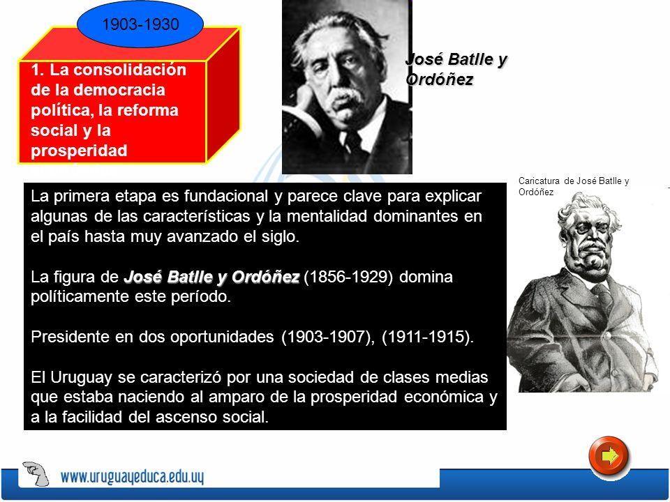 1903-1930 1. La consolidación de la democracia política, la reforma social y la prosperidad económica Caricatura de José Batlle y Ordóñez José Batlle
