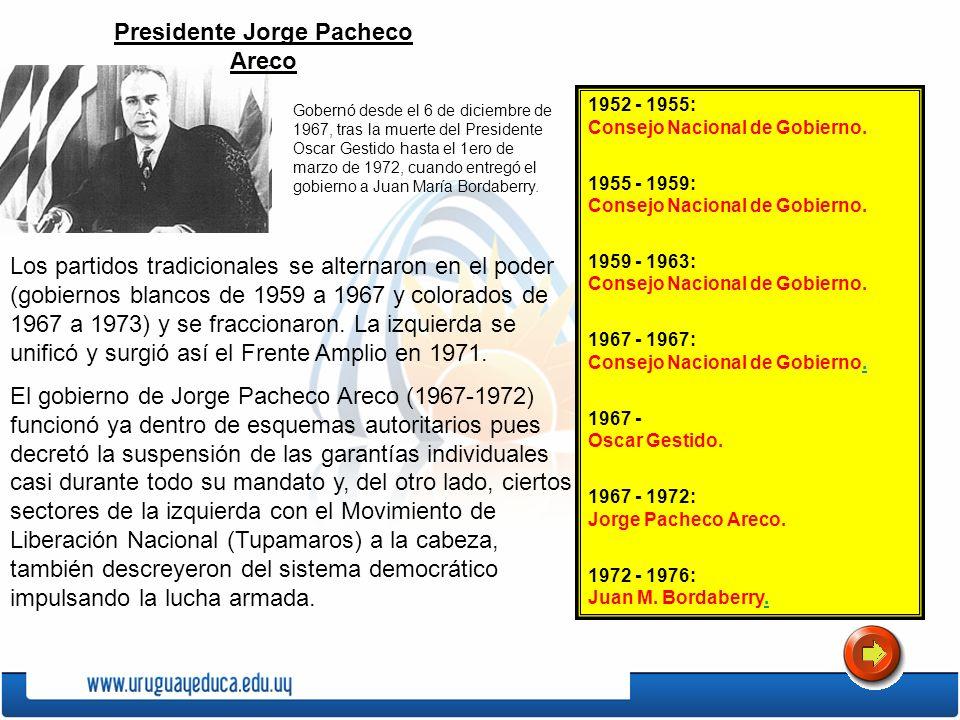 Los partidos tradicionales se alternaron en el poder (gobiernos blancos de 1959 a 1967 y colorados de 1967 a 1973) y se fraccionaron. La izquierda se