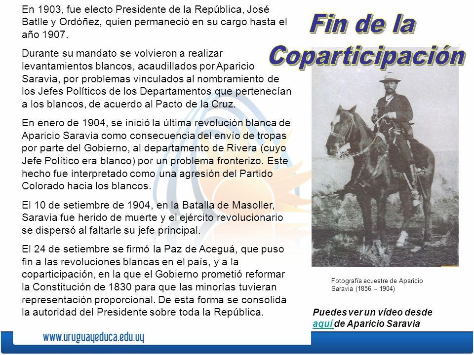 En 1903, fue electo Presidente de la República, José Batlle y Ordóñez, quien permaneció en su cargo hasta el año 1907. Durante su mandato se volvieron