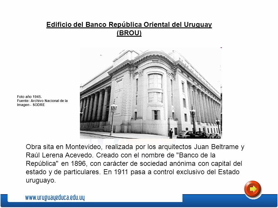 Edificio del Banco República Oriental del Uruguay (BROU) Obra sita en Montevideo, realizada por los arquitectos Juan Beltrame y Raúl Lerena Acevedo. C