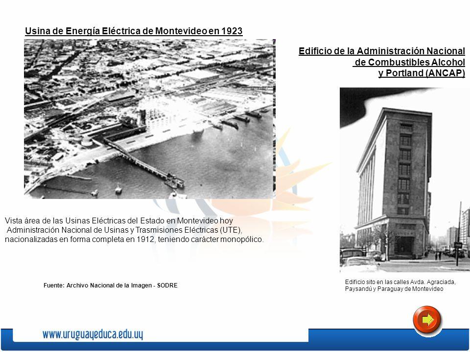Usina de Energía Eléctrica de Montevideo en 1923 Vista área de las Usinas Eléctricas del Estado en Montevideo hoy Administración Nacional de Usinas y