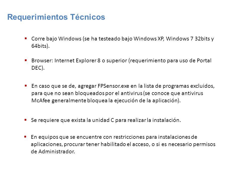 Corre bajo Windows (se ha testeado bajo Windows XP, Windows 7 32bits y 64bits). Browser: Internet Explorer 8 o superior (requerimiento para uso de Por
