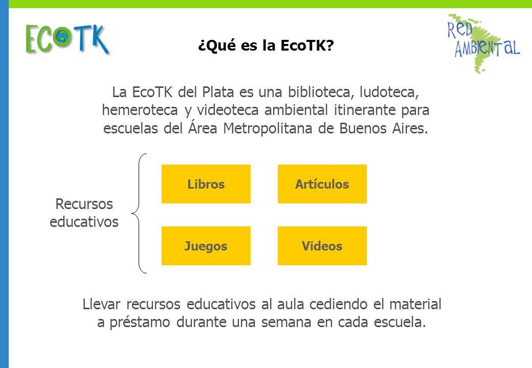 La EcoTK del Plata es una biblioteca, ludoteca, hemeroteca y videoteca ambiental itinerante para escuelas del Área Metropolitana de Buenos Aires. Libr