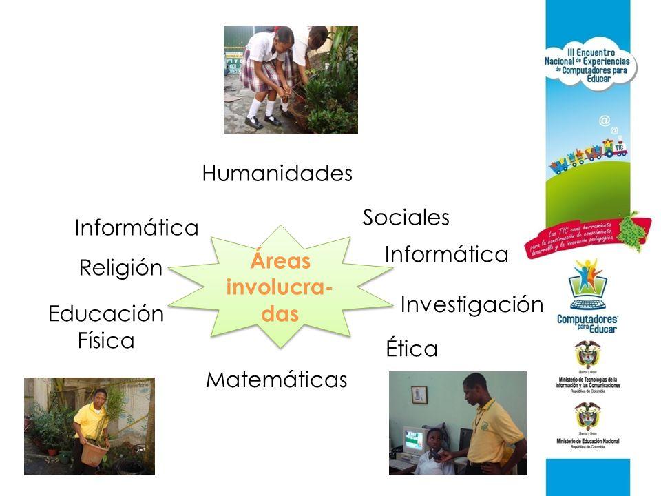 Áreas involucra- das Humanidades Sociales Informática Investigación Ética Matemáticas Educación Física Religión Informática