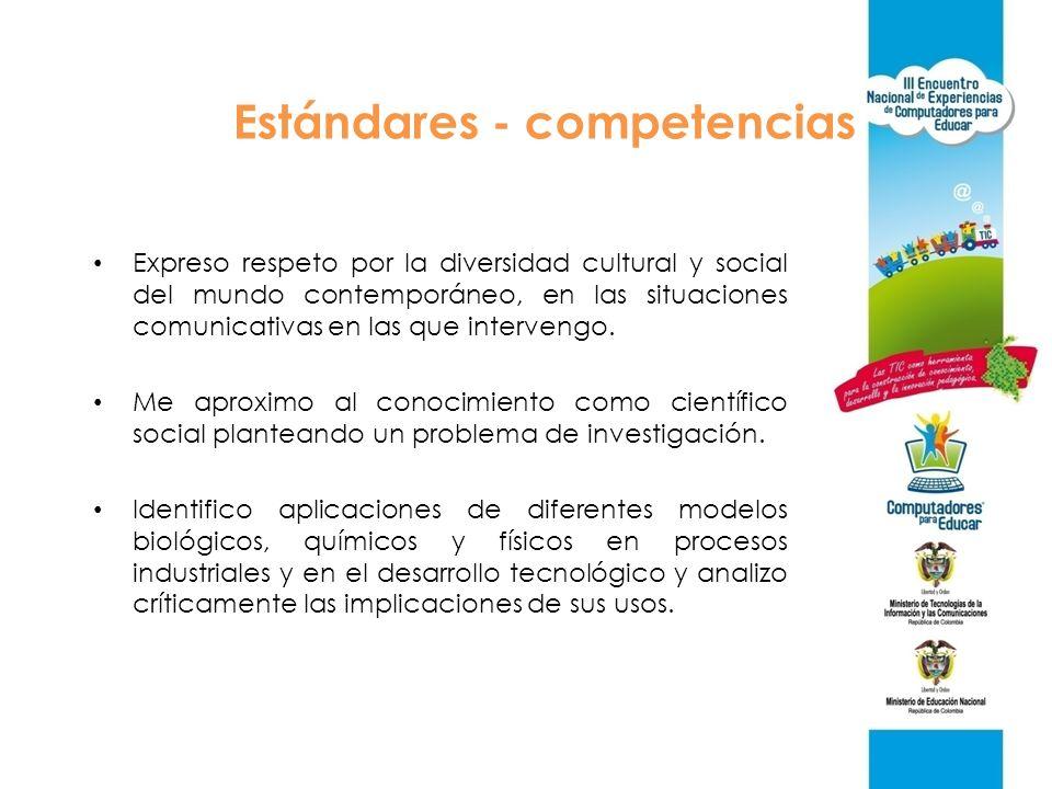 Estándares - competencias Expreso respeto por la diversidad cultural y social del mundo contemporáneo, en las situaciones comunicativas en las que int