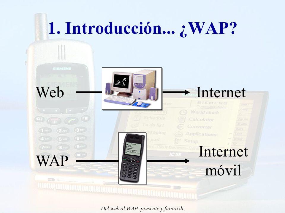 Del web al WAP: presente y futuro de la aplicación de Internet Móvil en la docencia - CONIED 02 WebWAP Teléfono móvil (WAP)Ordenador (PC) Documentos WMLDocumentos HTML Hipertexto Imagen Fotografía Sonido Vídeo Hipertexto Imagen Fotografía Sonido Vídeo 1.