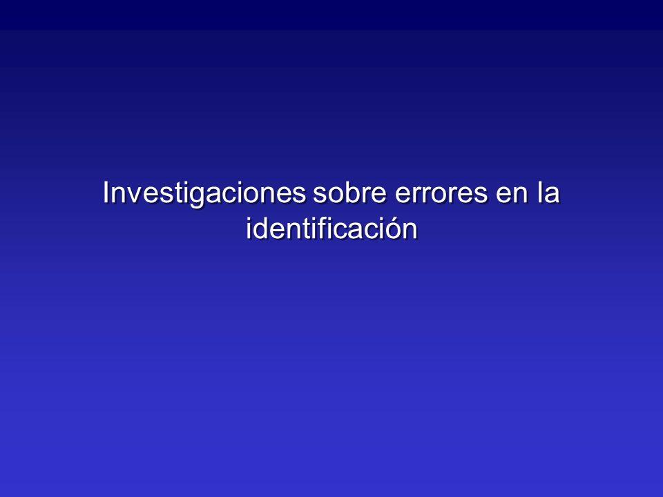 Investigaciones sobre errores en la identificación