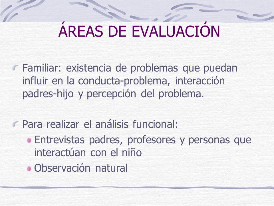ÁREAS DE EVALUACIÓN Familiar: existencia de problemas que puedan influir en la conducta-problema, interacción padres-hijo y percepción del problema. P