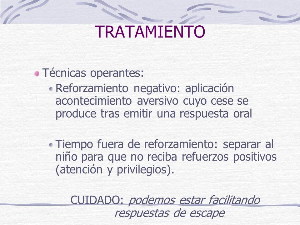 TRATAMIENTO Técnicas operantes: Reforzamiento negativo: aplicación acontecimiento aversivo cuyo cese se produce tras emitir una respuesta oral Tiempo