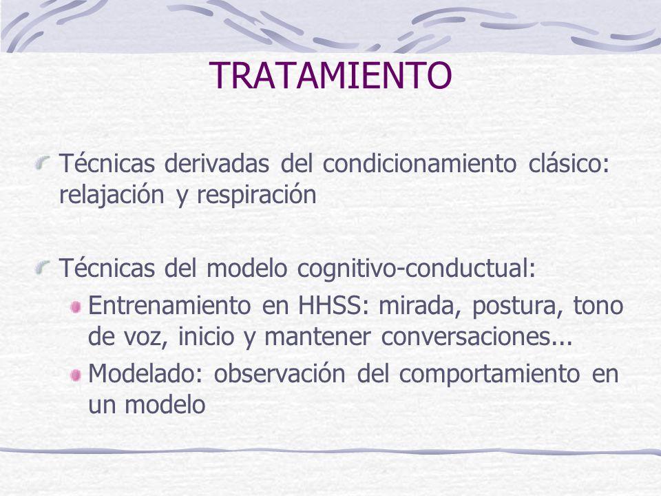 TRATAMIENTO Técnicas derivadas del condicionamiento clásico: relajación y respiración Técnicas del modelo cognitivo-conductual: Entrenamiento en HHSS: