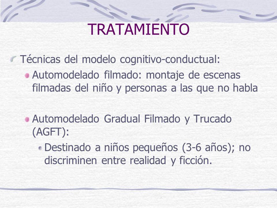 TRATAMIENTO Técnicas del modelo cognitivo-conductual: Automodelado filmado: montaje de escenas filmadas del niño y personas a las que no habla Automod