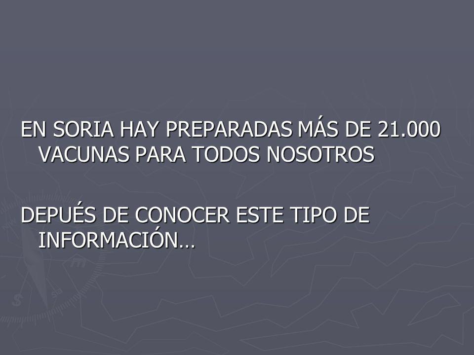 EN SORIA HAY PREPARADAS MÁS DE 21.000 VACUNAS PARA TODOS NOSOTROS DEPUÉS DE CONOCER ESTE TIPO DE INFORMACIÓN…