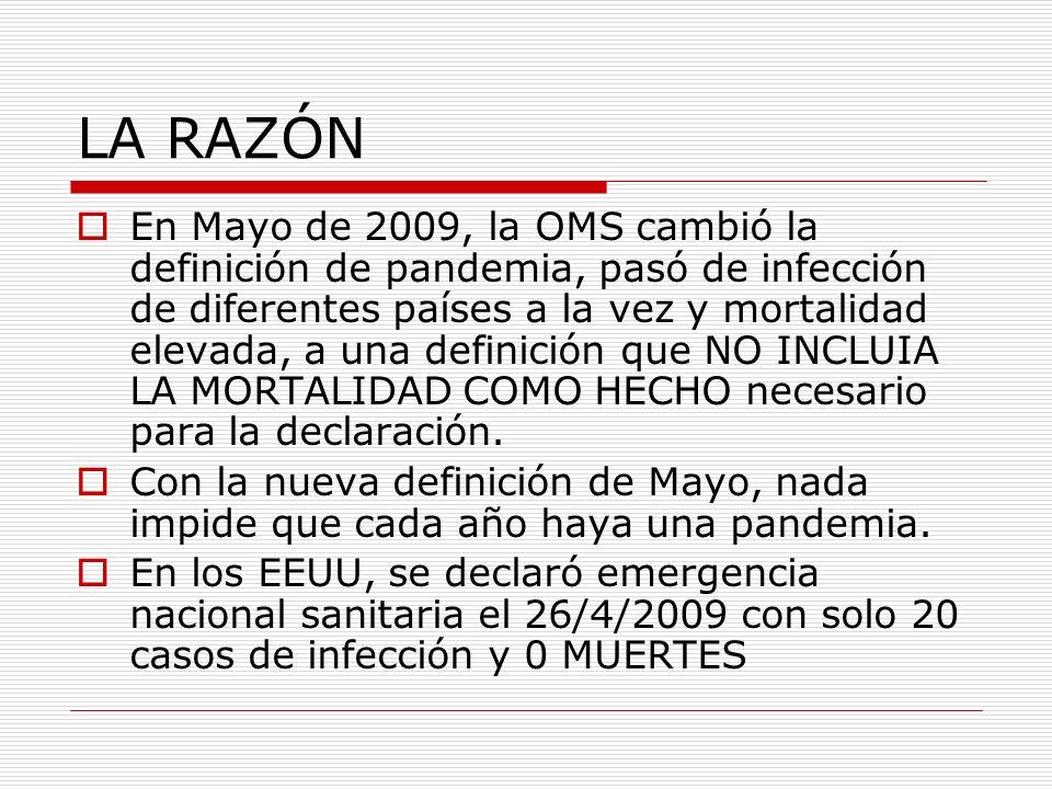 LA RAZÓN En Mayo de 2009, la OMS cambió la definición de pandemia, pasó de infección de diferentes países a la vez y mortalidad elevada, a una definición que NO INCLUIA LA MORTALIDAD COMO HECHO necesario para la declaración.