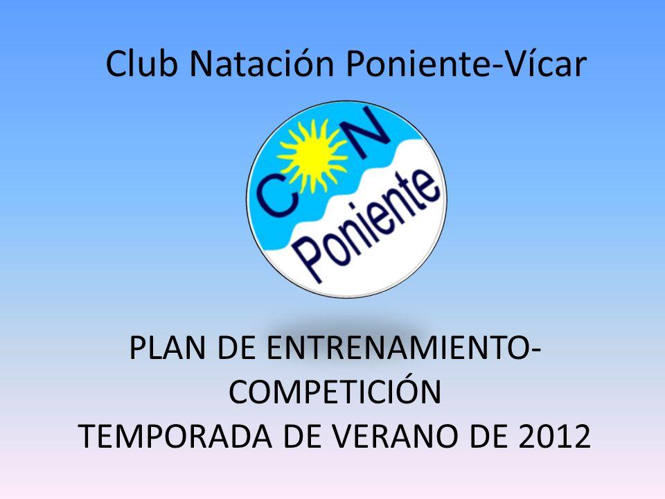 PLAN DE ENTRENAMIENTO (VERANO DE 2012) Club Natación Poniente-Vícar 1.