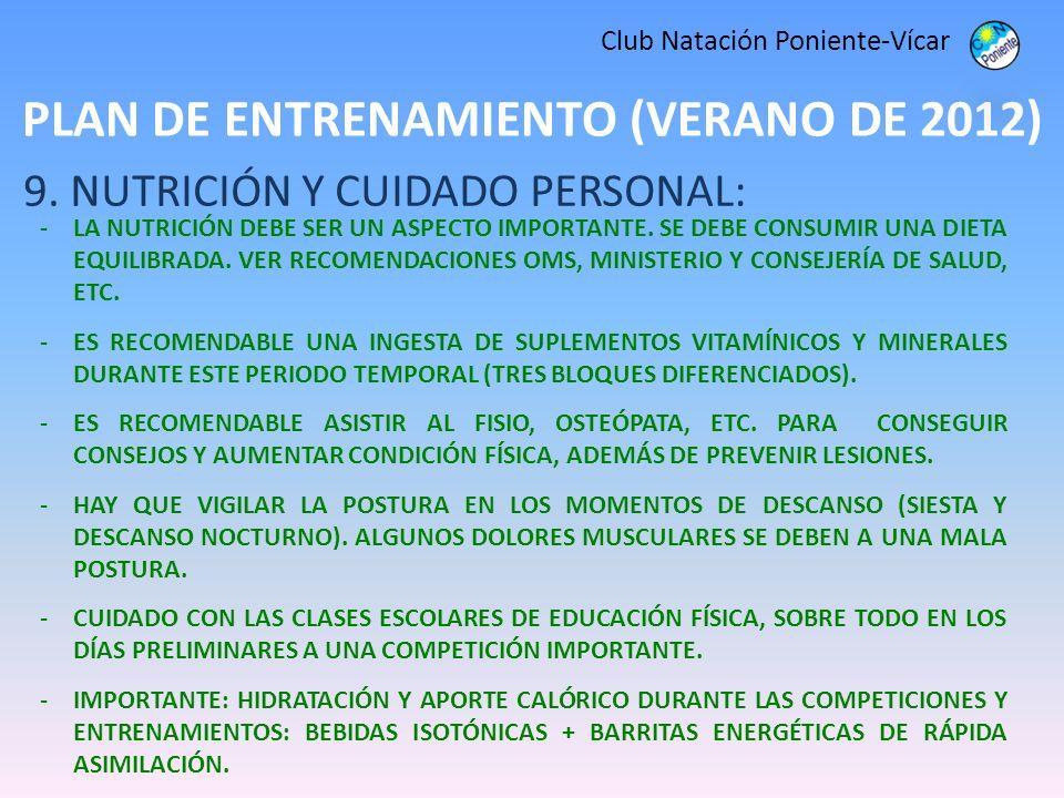 PLAN DE ENTRENAMIENTO (VERANO DE 2012) Club Natación Poniente-Vícar 9. NUTRICIÓN Y CUIDADO PERSONAL: -LA NUTRICIÓN DEBE SER UN ASPECTO IMPORTANTE. SE