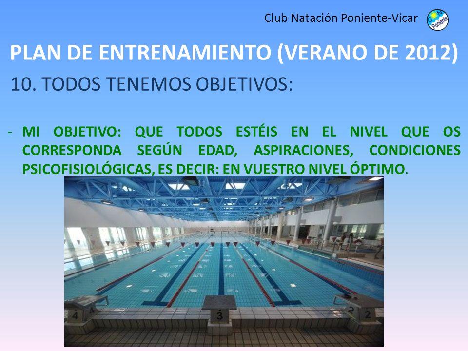 PLAN DE ENTRENAMIENTO (VERANO DE 2012) Club Natación Poniente-Vícar 10. TODOS TENEMOS OBJETIVOS: -MI OBJETIVO: QUE TODOS ESTÉIS EN EL NIVEL QUE OS COR