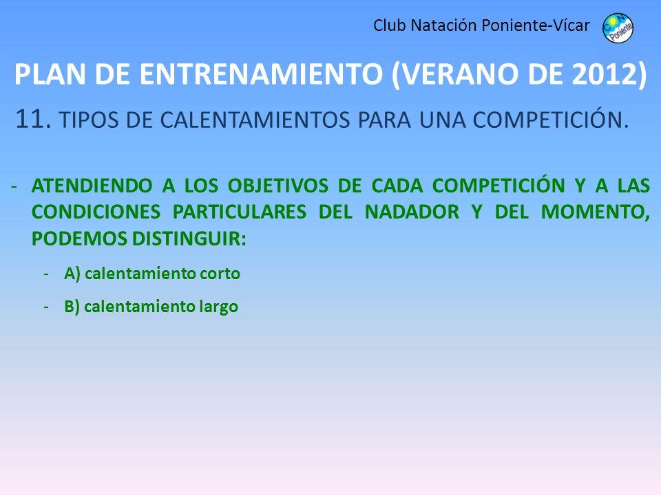 PLAN DE ENTRENAMIENTO (VERANO DE 2012) Club Natación Poniente-Vícar 11. TIPOS DE CALENTAMIENTOS PARA UNA COMPETICIÓN. -ATENDIENDO A LOS OBJETIVOS DE C