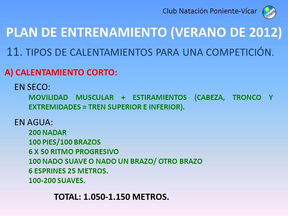 PLAN DE ENTRENAMIENTO (VERANO DE 2012) Club Natación Poniente-Vícar 11. TIPOS DE CALENTAMIENTOS PARA UNA COMPETICIÓN. A) CALENTAMIENTO CORTO: TOTAL: 1