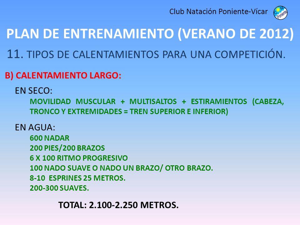 PLAN DE ENTRENAMIENTO (VERANO DE 2012) Club Natación Poniente-Vícar 11. TIPOS DE CALENTAMIENTOS PARA UNA COMPETICIÓN. B) CALENTAMIENTO LARGO: TOTAL: 2
