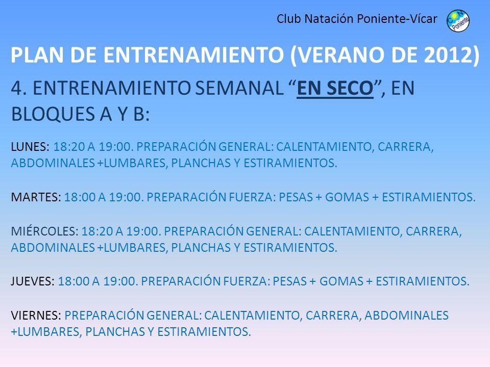 PLAN DE ENTRENAMIENTO (VERANO DE 2012) Club Natación Poniente-Vícar 4. ENTRENAMIENTO SEMANAL EN SECO, EN BLOQUES A Y B: LUNES: 18:20 A 19:00. PREPARAC