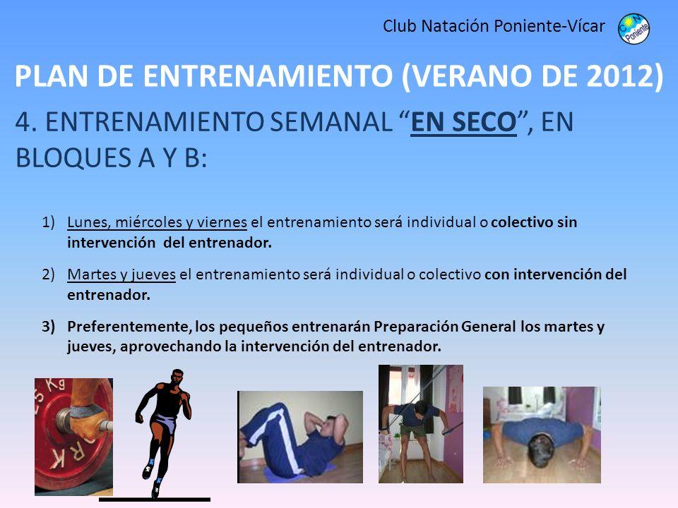PLAN DE ENTRENAMIENTO (VERANO DE 2012) Club Natación Poniente-Vícar 4. ENTRENAMIENTO SEMANAL EN SECO, EN BLOQUES A Y B: 1)Lunes, miércoles y viernes e