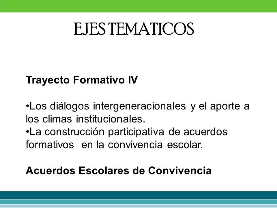 Trayecto Formativo IV Los diálogos intergeneracionales y el aporte a los climas institucionales. La construcción participativa de acuerdos formativos