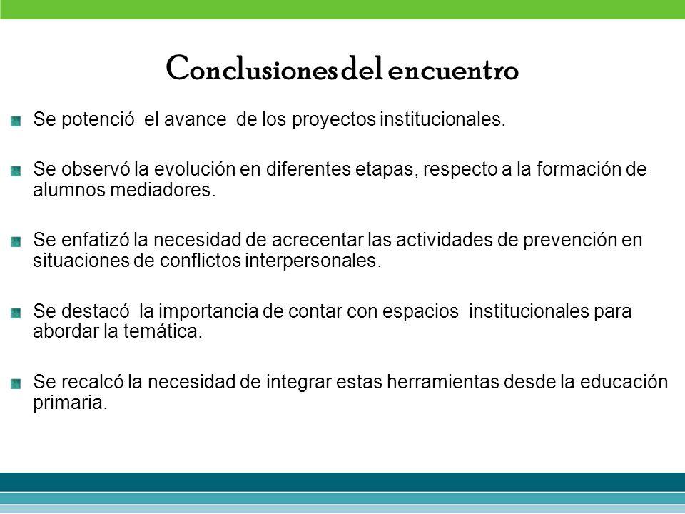 Conclusiones del encuentro Se potenció el avance de los proyectos institucionales. Se observó la evolución en diferentes etapas, respecto a la formaci