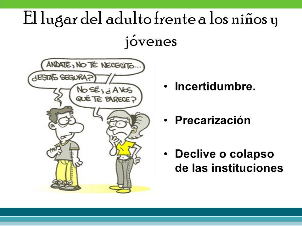 El lugar del adulto frente a los niños y jóvenes Incertidumbre. Precarización Declive o colapso de las instituciones