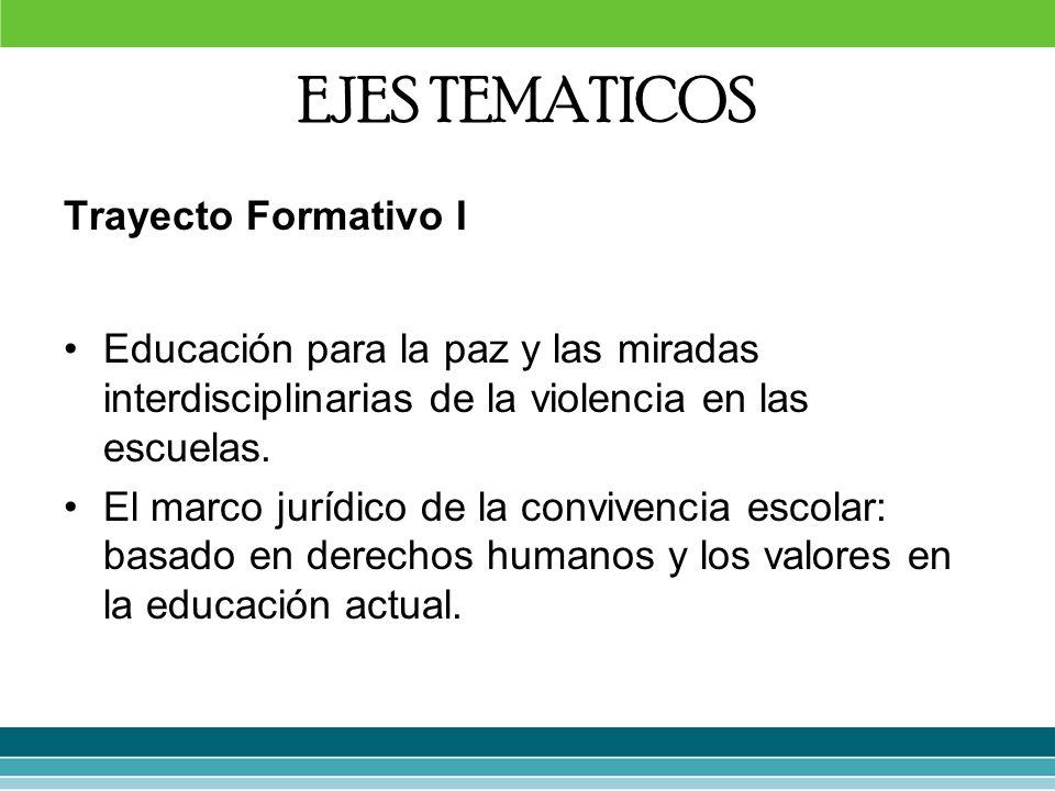 EJES TEMATICOS Trayecto Formativo I Educación para la paz y las miradas interdisciplinarias de la violencia en las escuelas. El marco jurídico de la c
