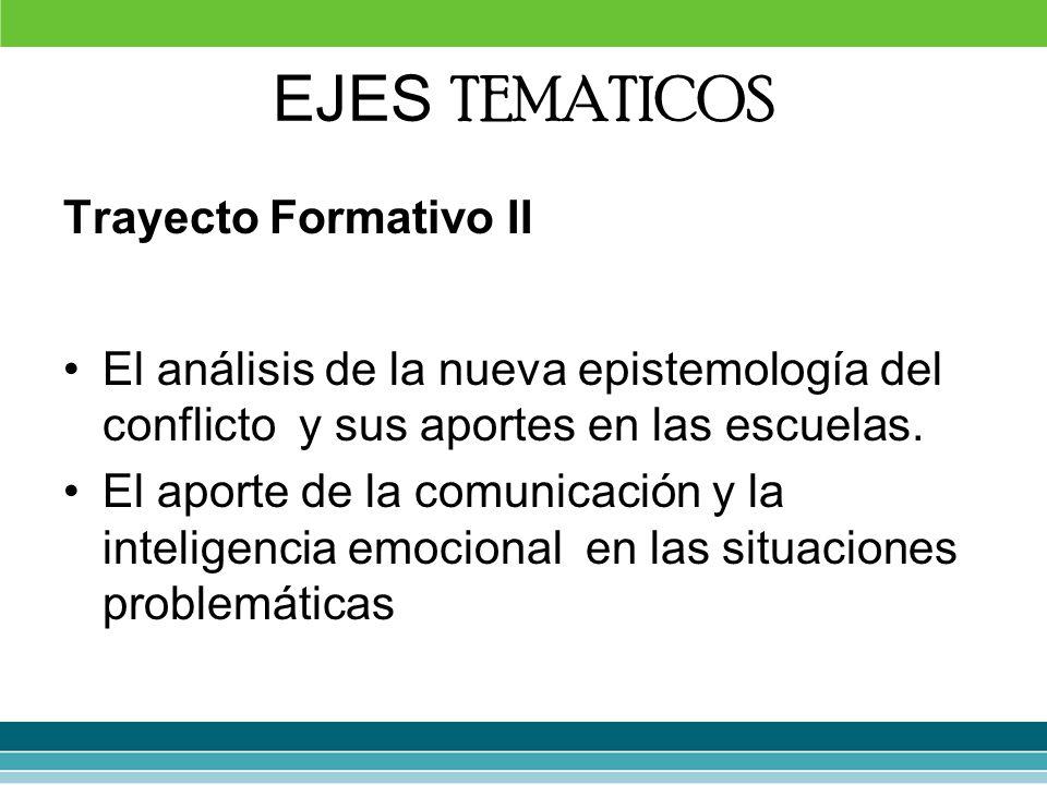 EJES TEMATICOS Trayecto Formativo II El análisis de la nueva epistemología del conflicto y sus aportes en las escuelas. El aporte de la comunicación y