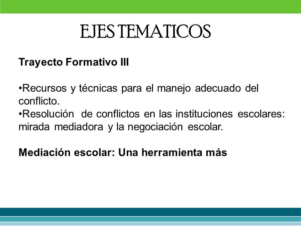 Trayecto Formativo III Recursos y técnicas para el manejo adecuado del conflicto. Resolución de conflictos en las instituciones escolares: mirada medi