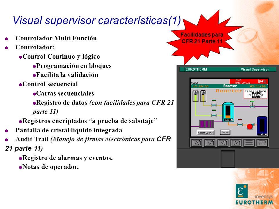 Visual supervisor características(1) l Controlador Multi Función l Controlador: l Control Continuo y lógico l Programación en bloques l Facilita la va