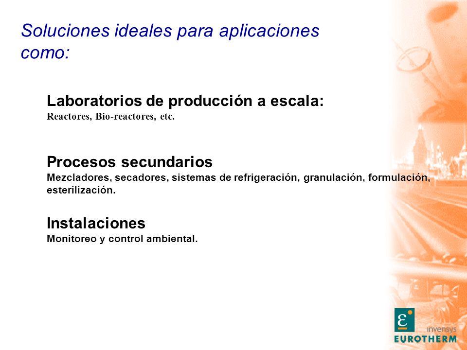 Soluciones ideales para aplicaciones como: Laboratorios de producción a escala: Reactores, Bio-reactores, etc.
