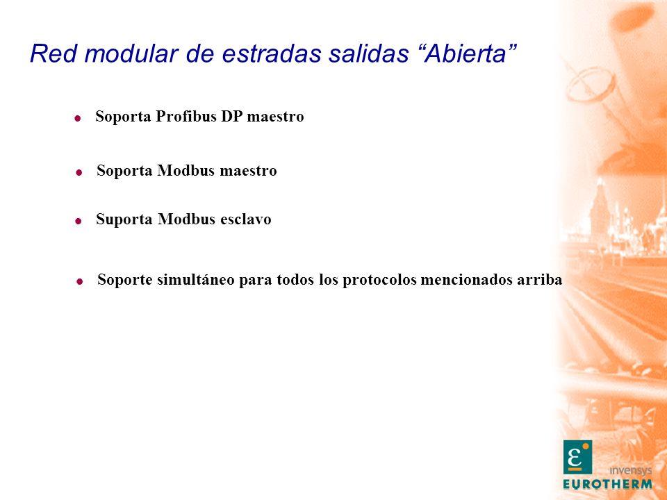 Red modular de estradas salidas Abierta l Soporta Modbus maestro l Soporta Profibus DP maestro l Soporte simultáneo para todos los protocolos menciona