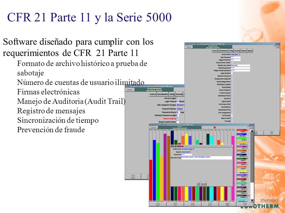 CFR 21 Parte 11 y la Serie 5000 Software diseñado para cumplir con los requerimientos de CFR 21 Parte 11 Formato de archivo histórico a prueba de sabotaje Número de cuentas de usuario ilimitado Firmas electrónicas Manejo de Auditoria (Audit Trail) Registro de mensajes Sincronización de tiempo Prevención de fraude