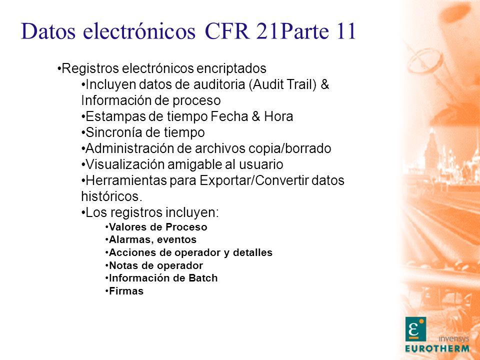 Datos electrónicos CFR 21Parte 11 Registros electrónicos encriptados Incluyen datos de auditoria (Audit Trail) & Información de proceso Estampas de tiempo Fecha & Hora Sincronía de tiempo Administración de archivos copia/borrado Visualización amigable al usuario Herramientas para Exportar/Convertir datos históricos.