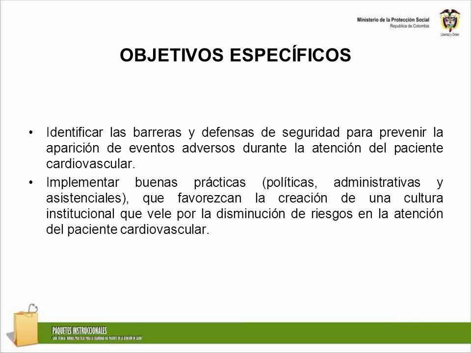 OBJETIVOS ESPECÍFICOS Identificar las barreras y defensas de seguridad para prevenir la aparición de eventos adversos durante la atención del paciente