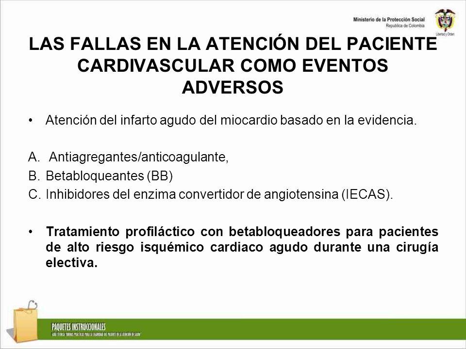 LAS FALLAS EN LA ATENCIÓN DEL PACIENTE CARDIVASCULAR COMO EVENTOS ADVERSOS Atención del infarto agudo del miocardio basado en la evidencia. A. Antiagr