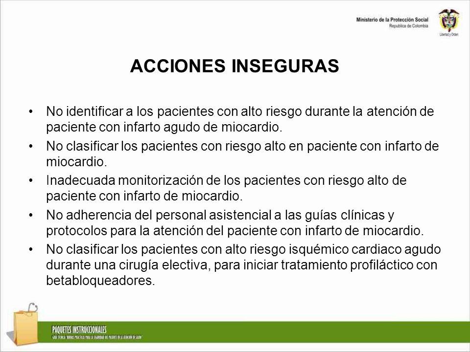 ACCIONES INSEGURAS No identificar a los pacientes con alto riesgo durante la atención de paciente con infarto agudo de miocardio. No clasificar los pa