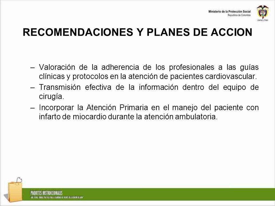 RECOMENDACIONES Y PLANES DE ACCION –Valoración de la adherencia de los profesionales a las guías clínicas y protocolos en la atención de pacientes car