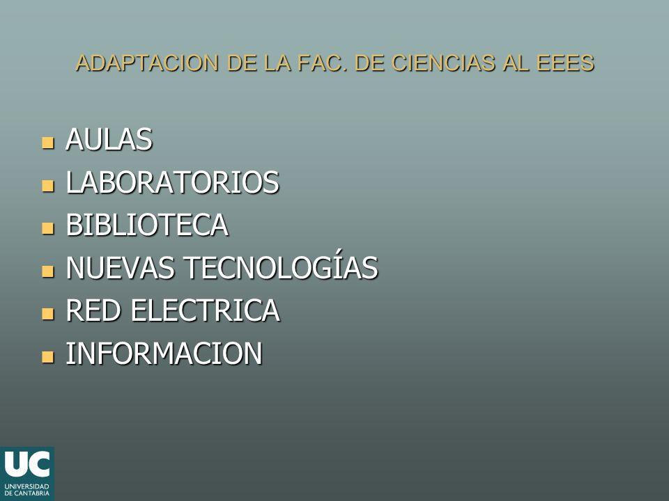 ADAPTACION DE LA FAC. DE CIENCIAS AL EEES AULAS AULAS LABORATORIOS LABORATORIOS BIBLIOTECA BIBLIOTECA NUEVAS TECNOLOGÍAS NUEVAS TECNOLOGÍAS RED ELECTR