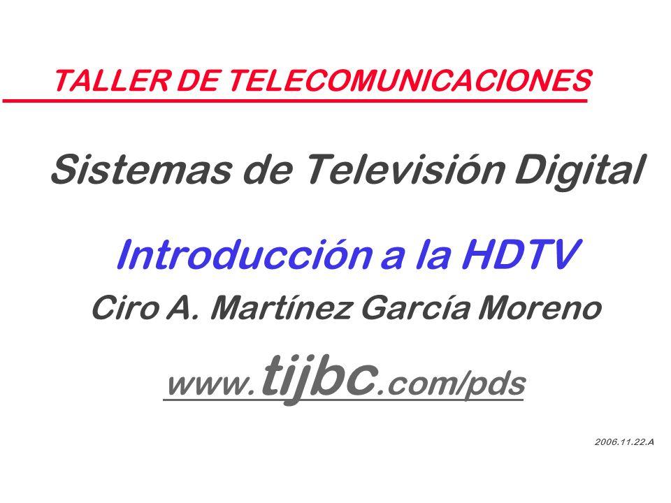 TALLER DE TELECOMUNICACIONES Sistemas de Televisión Digital Introducción a la HDTV Ciro A. Martínez García Moreno www. tijbc.com/pds 2006.11.22.A
